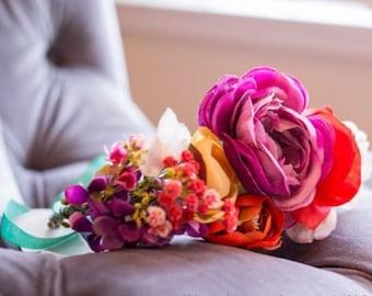 Peach + Fuchsia Flower Crown, Flower Crown, BOHO Flower Crown, Boho Wedding, Flower Girl Crown, Bridesmaid Hair Accessory