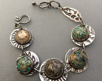 Glass and Sterling Silver Bracelet. Designer Cabochon Jewelry.
