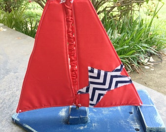 Toy/Photography Prop Sailboat- Blue Boat, red sail with navy chevron star