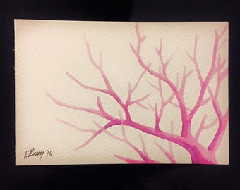 Hand-Painted Postcard, Pink Tree