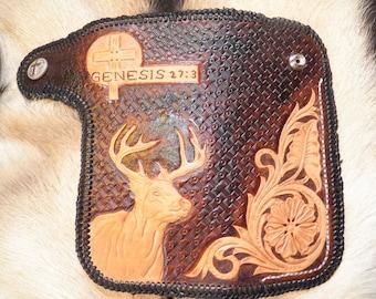 Hand Tooled Leather Biker Wallet.
