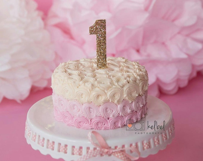 Number 1  Glitter First Birthday Cake Topper