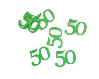 Pack of 100 Birthday Confetti, 50th Paper Shapes, Table Decorations, Table Confetti, Die Cut 50,  Birthday Decorations, Embellishments