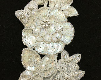 """Flower Appliqué with Iridescent Sequins, Beads and Rhinestone, 7.5"""" x 4""""  -9642-1169"""