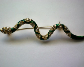 Little Green Snake / Serpent Pin with Rhinestones - 4455