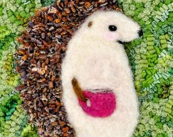 Hand Hooked Wool Mat Rug Hedgehog Coffee Tea Woodland Animal
