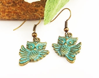 PATINA OWL EARRINGS - bronze owl dangle earrings