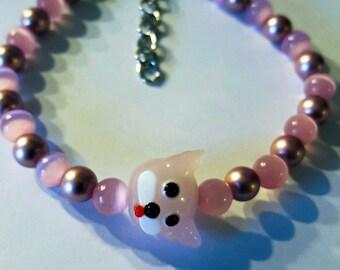 Soft Pink Handmade Beaded Bracelet with Kitty