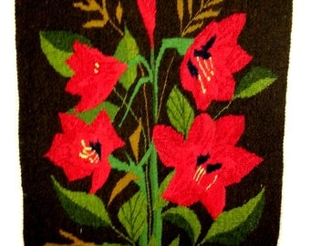 Flemish handwoven  wall hanging with flowers in very bright colors from Sweden  1960s.