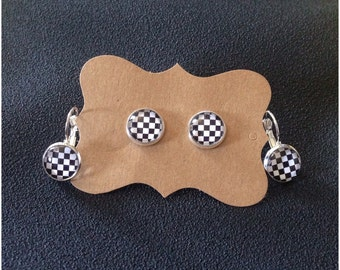 Checkered Flag Earrings - Motocross - Earrings - Racing Jewelry - Checkered Flag - Motocross Jewelry - Post Earrings - Dangle Earrings