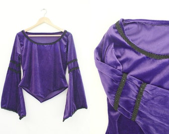 Vintage Velvet Top • Tudor Medieval Larp Damsel • Purple Goth Top • 90s Grunge Velour • Princess Fiona Elf Pixie Fairy • Halloween Witch. S