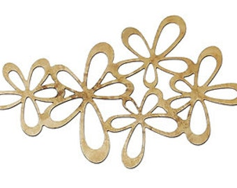 Brass Embellishments Findings Irregular Brass Tone Flower Pattern - Pack of 4