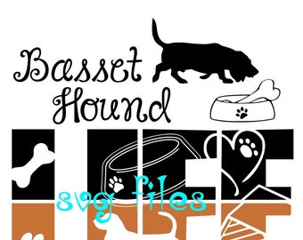 Bassett hound file- svg,png,jpg and  silhouette