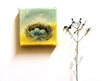 Nest Painting, Tiny Painting, Original Acrylic Painting, Eggs Painting, Miniature Painting
