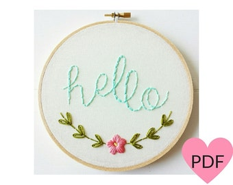 Embroidery Pattern, PDF Pattern,Hello Hand Embroidery Pattern, Instant Download PDF, Printable Stitching Pattern