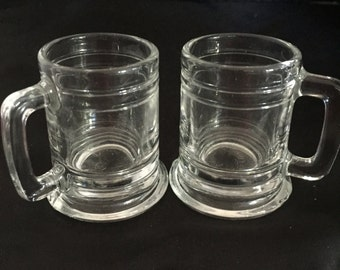 A016  Set of miniature clear glass beer mugs 6 inches