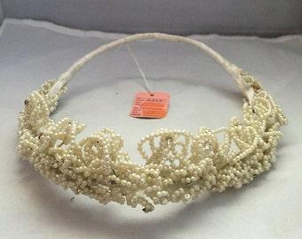 P005  Vintage,Wedding, crown, pearls