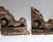 Wood Corbels or Brackets, Original Flaking Paint, Shabby Chic Architectural Salvage