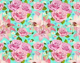 Floral aqua craft  vinyl sheet - HTV or Adhesive Vinyl -  large flower pattern vinyl rose and lily HTV2203
