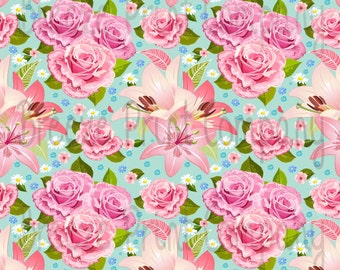 Floral mint craft  vinyl sheet - HTV or Adhesive Vinyl -  large flower pattern vinyl rose and lily HTV2201