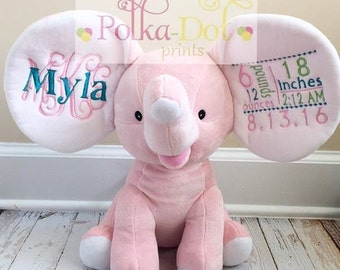 Embroidered Light Pink elephants WITH birth annoucement