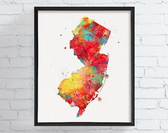 New Jersey State Art, New Jersey Map, Watercolor Map, New Jersey Poster, State Wall Decor, New Jersey Art Print, Dorm Decor, Office Decor
