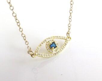 Gold cubic zirconia evil eye necklace,Hamasa CZ necklace,Lucky charm necklace,gold filled evil eye , CZ evil eye necklace,Jewish jewelry