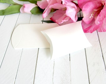 White Pillow Favor Boxes 2 1/4 x 7/8 x 2 5/8 in - gift boxes,favor boxes,treat boxes,white pillow box,white gift box,white favor box,wedding