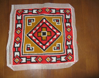 Vintage needlepoint picture panel Southwest design Native American unframed or pillow top