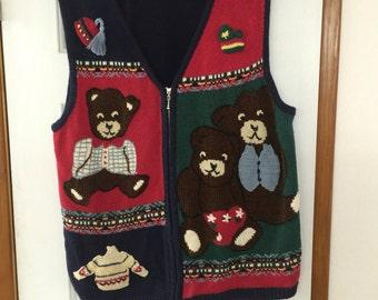 Ugly Cristmas Sweater Bear Vest Teddy Bear