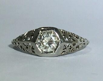 Vintage Diamond Ring. 0.47 Carat Diamond in 14K Gold Filigree Setting. Unique Engagement Ring. April Birthstone. 10 Year Anniversary Gift.
