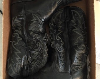 VINTAGE Dan Post Boots Mens Black Corona country western USA made boots size 12D Like New!