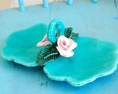 Teal Jewelry Tray with Light Pink Roses