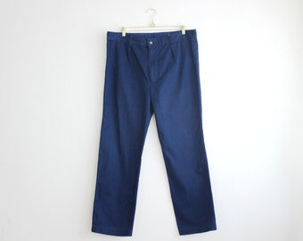 Vintage French Workwear Pants, Navy Blue Men Trousers, Industrial Work Pants XL Extra Large