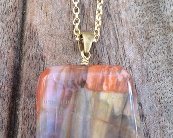 Chalcedite Square Pendant with Gold Chain by MB