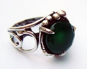 Green Agate Sterling Silver Ring , Statement Ring, Green Stone Ring, Israeli Jewelry,Green Gemstone Ring, MADE-TO-ORDER