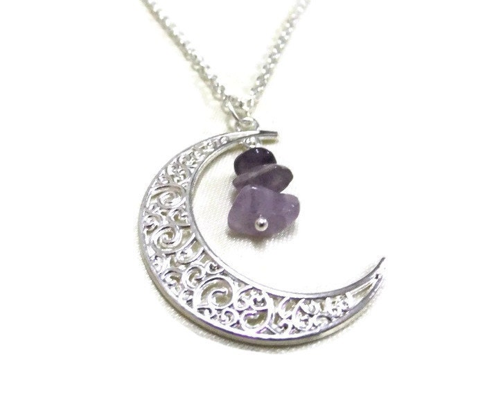 Silver Moon And Amethyst Necklace Crescent Moon By