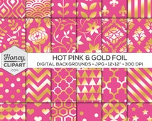 Digital Backgrounds: Hot Pink and Gold Foil Patterns, Printable Paper, Pink Wallpaper Designs, Metallic Stripe, Chevron, Dot, Pink Download