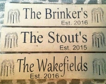 Customized Family Name sign. Approx.  5.5 x 24