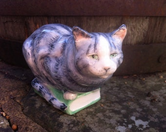 Cat on book Tommy, silver tabby cat sculpture, cat model, cat figurine