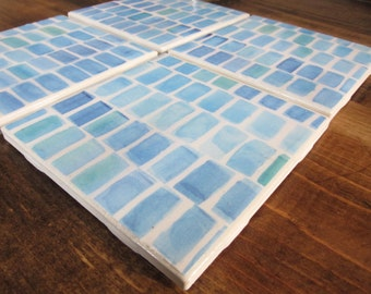 Set of 4 Blue Tile Coasters