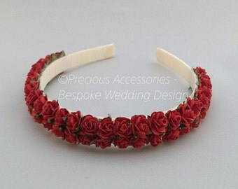 Red Flower headband, Wedding headband/wreath, Flower girl headband, Wedding Hair accessories for bridesmaids
