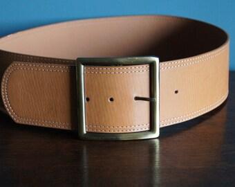 Vintage genuine leather belt  Wide Belt Medium Size Ann Christine Perfect Condition