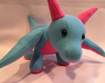 "ON SALE: Big Blue & Pink ""Lighthearted"" Dragon Plush - 18"" Long"