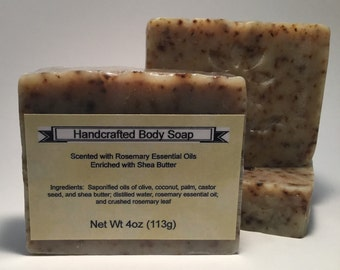 Rosemary Essential Oil scented Handcrafted Body Soap enriched with Shea Butter