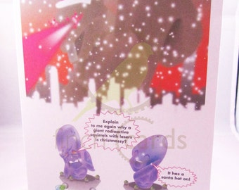 Aliens and Radioactive Squirrel Funny Christmas Card