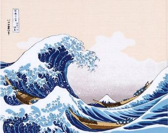 "19"" Furoshiki Ukiyoe The Great Wave Hokusai Katsushika Beige"