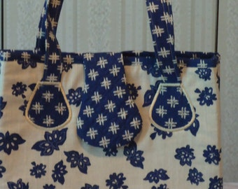 Blue Indigo Floral Hand Bag