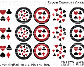 Instant Download Playing Cards, Poker 4x6 one 1 inch bottle cap image, bci, digital collage sheet