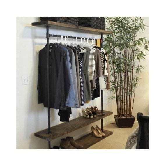 ird triple shelf clothing rack industrial furniture pipe. Black Bedroom Furniture Sets. Home Design Ideas